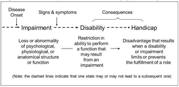 Figure 3. Differences and relations between Impairment-Disability-Handicap