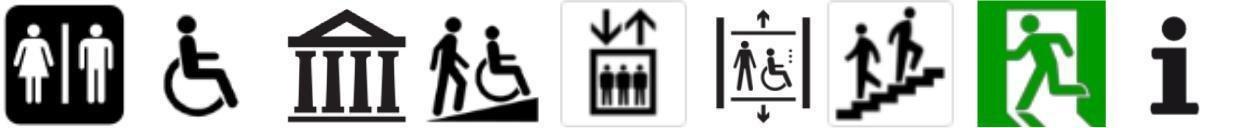 Imagem 6. Exemplos de pictogramas padronizados de acordo com os símbolos de informação pública ISO 7001 (casa de banho, estruturas/casas de banho acessíveis, museu, acesso por declive ou rampa, elevador, elevador acessível, escadas, saída de emergência, informações
