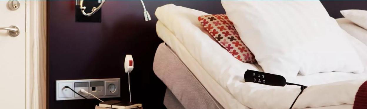 vaizdas yra tiek dekoratyvus, tiek informatyvus, kadangi atspindi kai kurias visiems prieinamų kambarių ypatybes. Nuotraukoje galite pamatyti tam tikrus prieinamumo elementus, tokius kaip lovos nugarinėje dalyje reguliuojamas jos aukštis bei papildomas elektros lizdas elektrinėms lovoms, esantis ant sienos, žemiau galvūgalio.